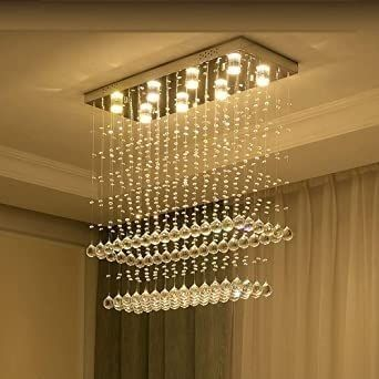 Dining Room Rectangle Chandelier In 2020 Glass Ceiling Lamps Chandelier Chandelier Lighting