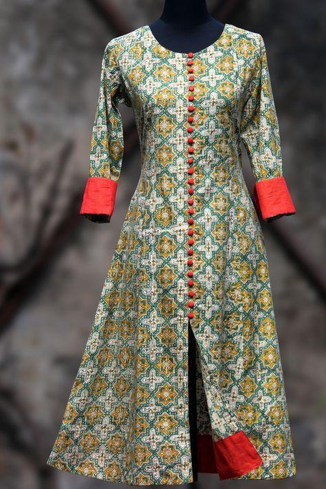 an elegant anarkali in lemon yellow hand-block printed bagru and fabric buttons and tangerine orange mangalgiri border and sleeve cuffs! orange dupatta - on r