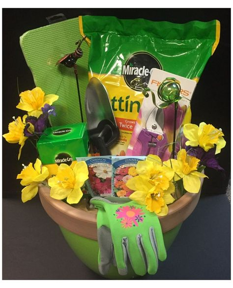Theme Baskets, Themed Gift Baskets, Diy Gift Baskets, Fundraiser Baskets, Raffle Baskets, Silent Auction Baskets, Garden Gifts, Garden Basket Gift, Retirement Gifts