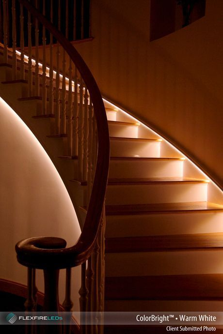 Beautiful Indirect Stair Lighting Using Led Strip Lights It S Both A Safer And More Stylish Way To Lig Stair Lighting Stairway Lighting Outdoor Stair Lighting