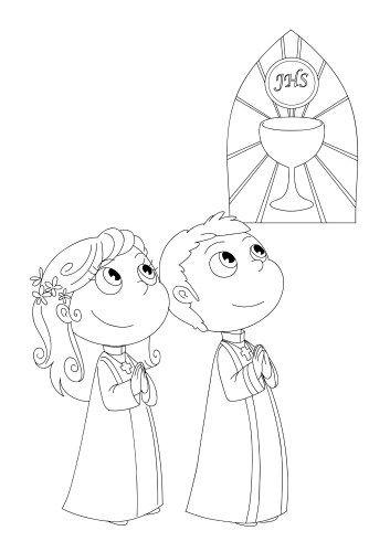 Dibujos para colorear de primera comunion para niños | Imprimibles
