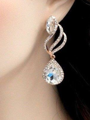 Free shipping ROSE GOLD Plated Clear Crystal Rhinestone Dangle Drop Earrings Gift for women Wedding Chandelier Earrings Prom Earrings