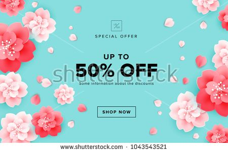 Spring Sale Design With Beautiful Flowers Cherry Blossom On Green Background Vector Banner Poster Flower Background Design Sale Design Beautiful Flowers