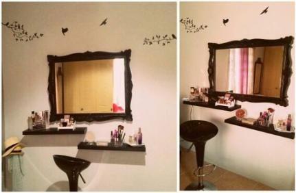 Diy Floating Shelves Makeup Vanity Diy Vanity Table Vanity Room Decor Diy Vanity