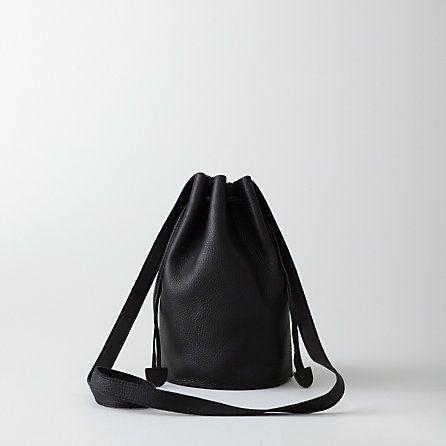 steven alan black leather drawstring purse | Leather, Purses