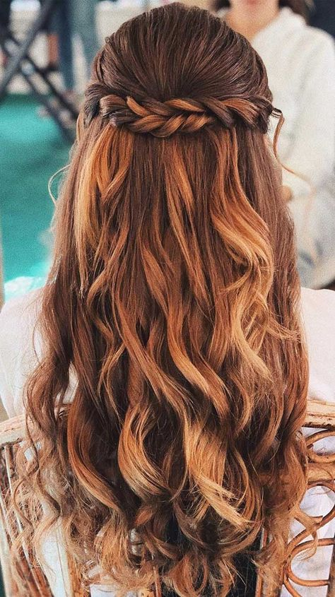 half up half down hairstyles partial updo hairstyle braid half up half down hairstyles bridal hair boho hairstyle braid half up hairstyle Try On Hairstyles, Braided Hairstyles Updo, Bride Hairstyles, Hairstyle Braid, Braided Half Updo, Gorgeous Hairstyles, Sweet 15 Hairstyles, Boho Hairstyles For Long Hair, Fast Easy Hairstyles