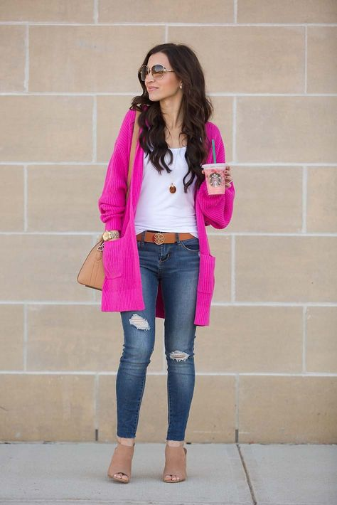 f931106c0b1 Hot pink cardigan - tan booties - Tory Burch belt - Givenchy mini Antigona  - Moon   Lola Dalton necklace