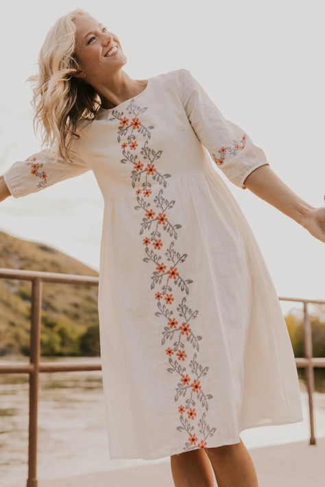Floral Embroidered Dress - Women's Modest Dresses | ROOLEE
