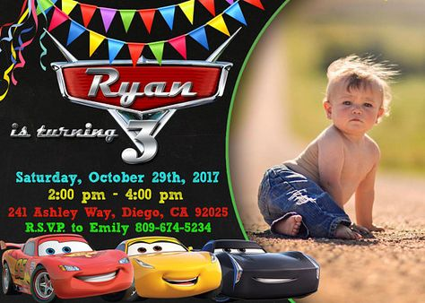 Cars 3 Invitation Birthday Disney Party Lightning McQueen Personalized JPEG