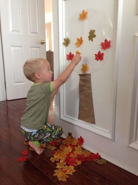Easy Fall Tree Activity for Toddlers – Sandra Shoffner Easy Fall Tree Activity for Toddlers We love creating sticky walls and using contact paper for crafting. Today we are sharing a super easy Fall tree activity for toddlers th… Fall Activities For Toddlers, Fall Crafts For Kids, Toddler Learning Activities, Infant Activities, Fall Toddler Crafts, Easy Toddler Crafts 2 Year Olds, Toddler Halloween Activities, Toddler Thanksgiving Crafts, Fall Art For Toddlers