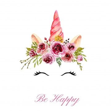 Cute Unicorn Head With Watercolor Floral Pink Crown Png And Vector Rainbow Drawing Floral Wreath Watercolor Painted Floral Wreath