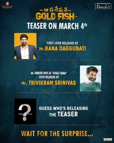 Guess The Celebrity Who's Going To Release The Teaser Of Operation Gold Fish On March 4th