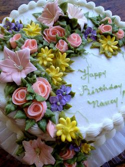 Admirable Nancy Birthday Cakes With Images Birthday Cake With Flowers Funny Birthday Cards Online Overcheapnameinfo