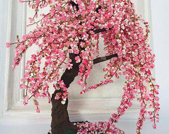 Gardening Gift Sakura Bonsai Tree Cherry Blossom Wire Wrapped Tree Gifts Handmade Office Decor Wire Tree Cherry Blossom Bonsai Tree Garden Gifts Japanese Tree