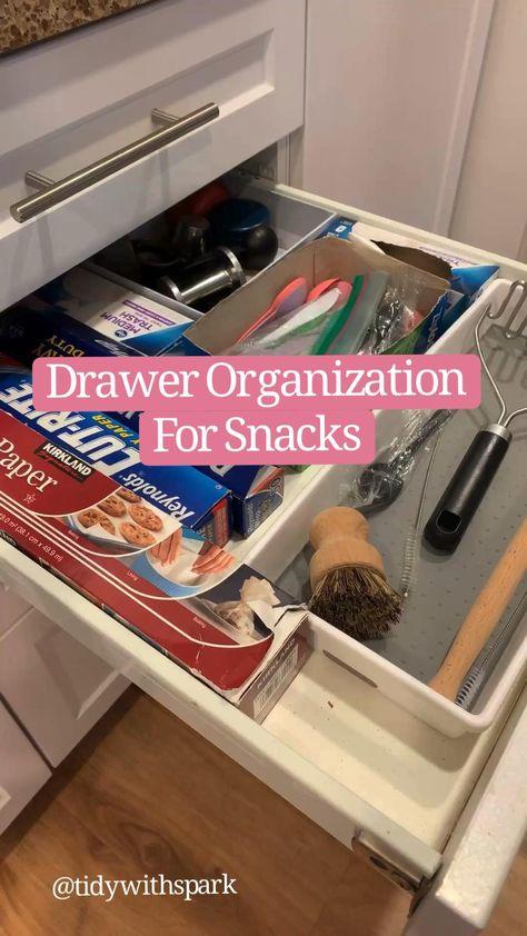 Drawer Organization for snacks - kitchen pantry organization - organized home