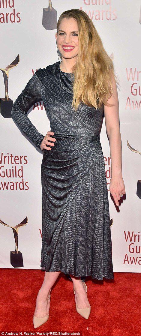 Sarah Silverman Alison Brie And Greta Gerwig At Wga Awards Charcoal Grey Dress Fashion Gray Dress