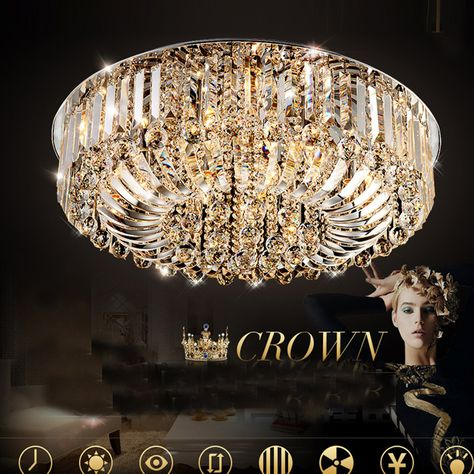 Luxury Led Indoor Crystal Surface Lighting Big Ceiling Lamp Modern Large Crystal Hanging Lights With Images