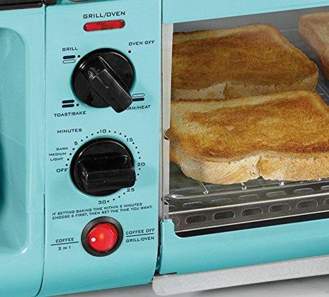 Blue, Red,or White Family Size Large 3-in-1 Coffee Maker and Toaster Oven Breakfast Station