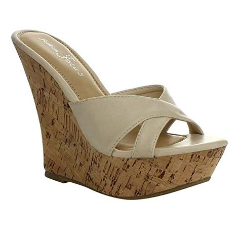 Shop for Women's Wild Diva Natural Faux Leather. Get free delivery On EVERYTHING* Overstock - Your Online Shoes Outlet Store! Wedge Sandals, Shoes Sandals, Sandals Platform, Beautiful High Heels, Shoe Deals, Flip Flop Shoes, Wedges, Summer Shoes, Image Link