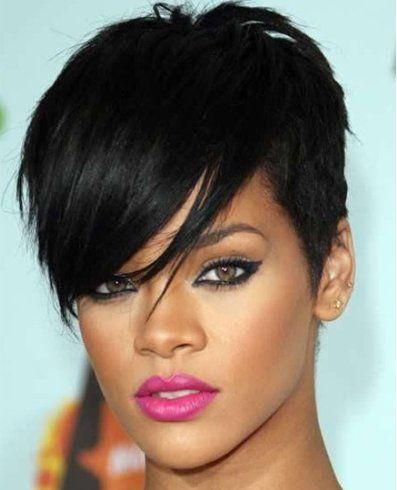 Pixie With Long Bangs Pixie Haircut Rihanna Hairstyles Short Hair With Bangs