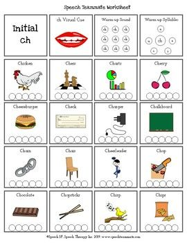 Ch Initial Sound | Articulation Worksheets | Initial sounds ...