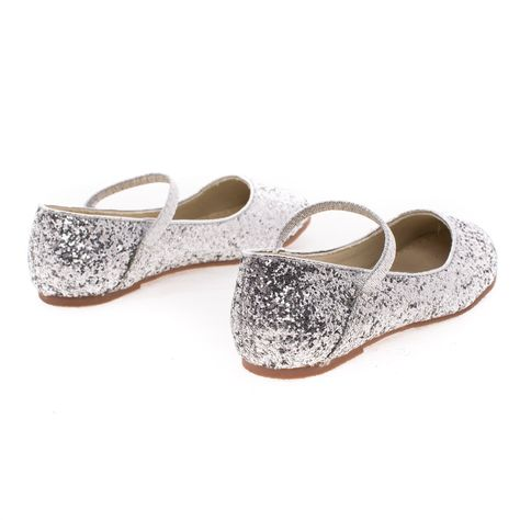 RidleyRG Children Girl Round Toe Ballet Flat  Elastic Mary-Jane /& Rock Glitter