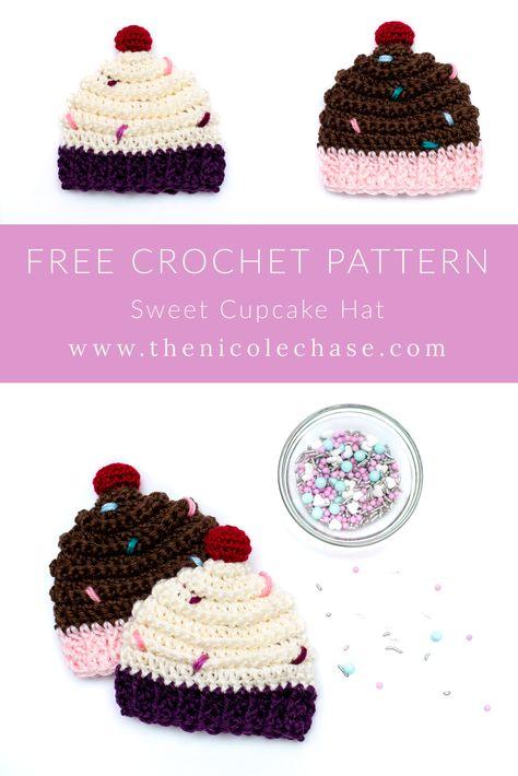 Crochet Cupcake Hat, Crochet Baby Hats Free Pattern, Crochet Baby Hat Patterns, Crochet Baby Beanie, Crochet Kids Hats, Free Crochet, Crocheted Baby Hats, Baby Knitting Patterns Free Newborn, Baby Beanie Hats