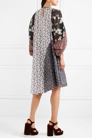 Biyan - Loki Asymmetric Printed Silk-chiffon Dress - Navy