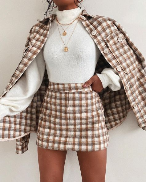 Lulus Ode to Cozy Cream Plaid Lightweight Jacket is the piece you've been after! Cozy flannel material in a a neutral plaid print, makes this stape perfect for chilly winter days. Layer with a simple white sweater and style with the matching skirt for a complete look. @taliacupcake #lovelulus
