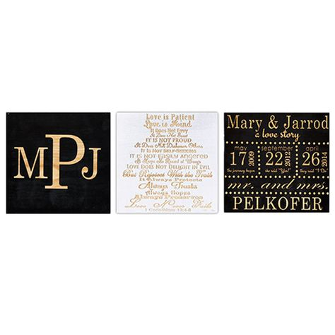 Wedding Gift Ideas-Modern Wedding Day-3 Piece Set-Wood Engraved. Monogram/Corinthians/Couple's Love Story. Color of your choice. Free Shipping!