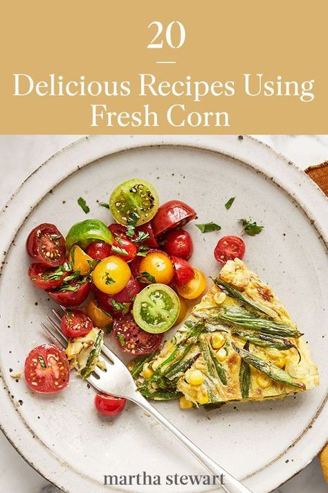 Enjoy fresh seasonal corn this summer with one of our delicious recipes and meal ideas using corn. From puree corn soup, corn chowder with shrimp, grilled chili-lime corn as a barbecue side dish, and many more variations you can enjoy throughout summer and early fall. #marthastewart #recipes #recipeideas #vegetablerecipes #vegetable