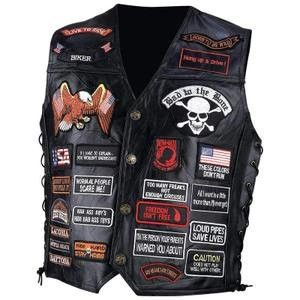 Diamond Plate Rock Design Genuine Buffalo Leather Vest W// 14 Patches-XL
