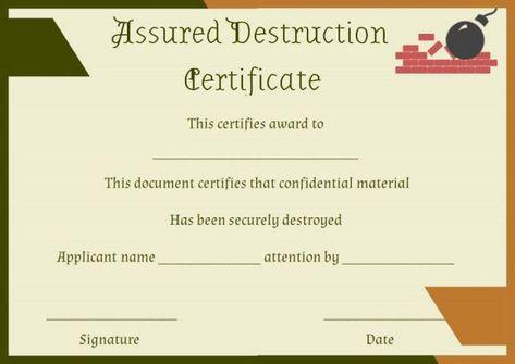 Certificate Of Destruction Form Sample Certificate