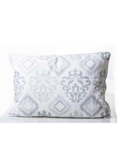 Cojin Half Panama Blanco Y Gris Barato Decoracion Textil Moderno