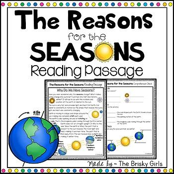 Reason For The Seasons Earth S Tilt Fourth Grade Science 4th Grade Science Reading Passages