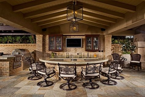 outdoor kitchens | Outdoor kitchen bar chairs countertop TV