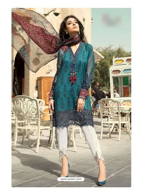 Teal Cambric Cotton Embroidered Suit
