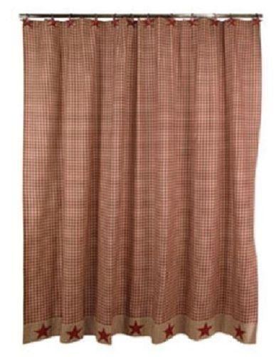 Primitive Burgundy Homespun Star Shower Curtain Primitive