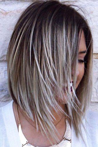 Straight Asymmetrical Silver Blonde Highlighted Bob Hair Styles Edgy Bob Haircuts Long Hair Styles
