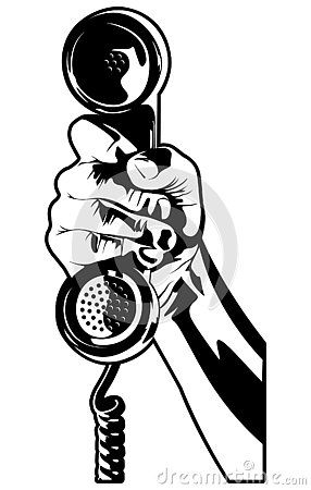This Is A Black And White Vector Illustration Of A Hand Holding An Old Telephone Receiver Black And White Drawing Pop Art Drawing Black And White