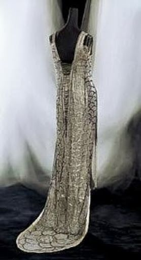 Beer Dress - 1919 - by by Gustav Beer (established 1905) Paris - Silk net embroidered in silvered glass beads and rhinestones with silk sash and silver lame underdress - Kyoto Costume Institute - @~ Mlle