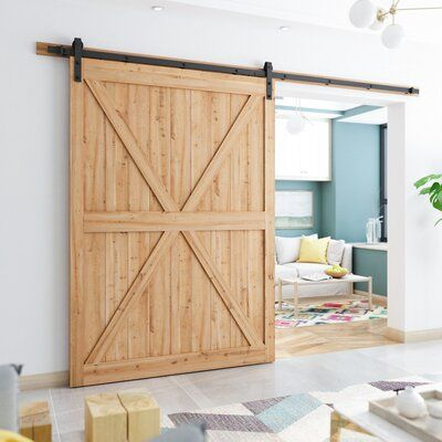 Smartstandard Heavy Duty Sturdy Sliding Standard Single Barn Door Hardware Kit Track Length 120 In In 2020 Barn Door Hardware Door Hardware
