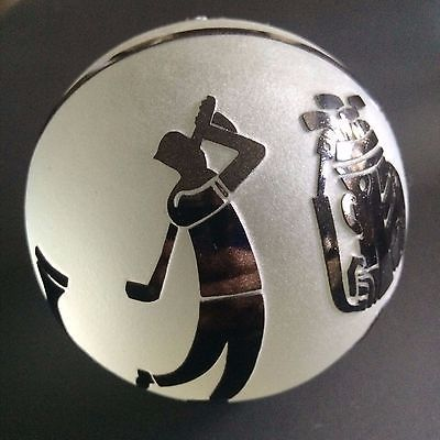 Correia golfer golfing golf bag black white signed art glass cameo paperweight