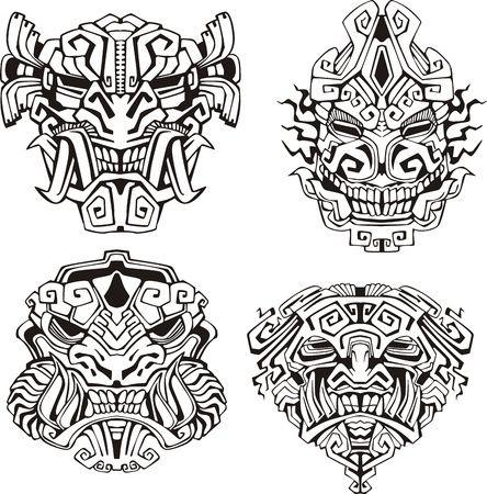 Coloriage Masques Monstres Azteques Tatouage Marquisien