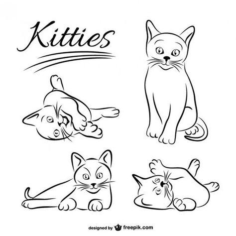 Lade Katzchen Zeichnungen Kostenlosen Vektor Kostenlos Herunter Zeichnungen Katzen Vector Vektorfrei