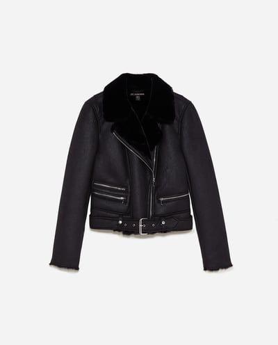 veste zara en jean noire avec clou