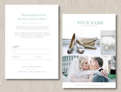 Photographer Gift Certificate Template - Photographer Gift Card ...