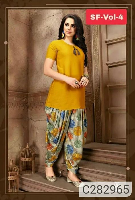 :)*Follow Me* http://fcity.in/mii  :)Trendy Kurti With Patiyala Pant  Package Contains: 1 Kurti & 1 Patiala Salwar  Kurti Fabric: Rayon  Patiala Fabric: Crepe  Size: M-38, L-40, XL-42, 2XL-44  Sleeves: Half Sleeves  Kurti Length: 44