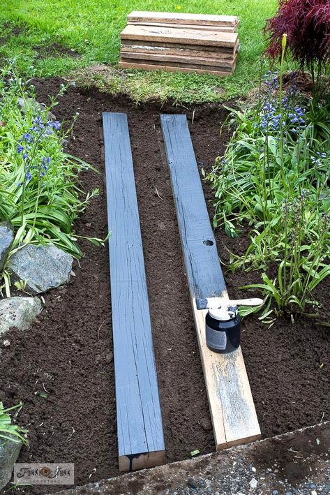 Learn how to build this easy and beautiful garden-themed reclaimed wood walkway with scrap wood and stencils! Easy to customize! Garden Rake, Easy Garden, Outdoor Projects, Garden Projects, Wood Walkway, Garden In The Woods, Yard Design, Garden Paths, Backyard Landscaping