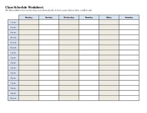 Schedule Worksheet Templates Class Schedule Template Schedule